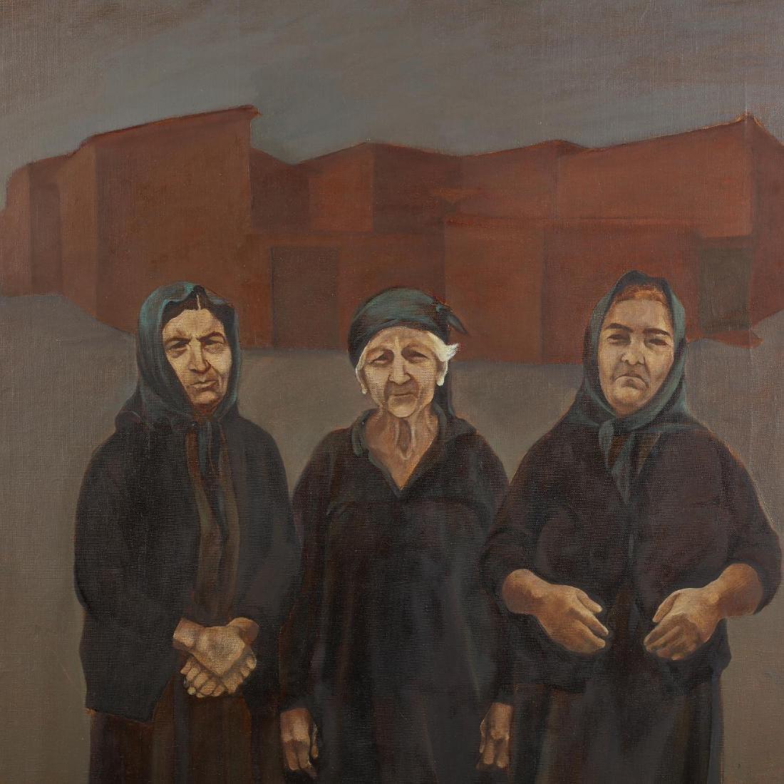 Greek Cypriot Painting of Three Elderly Mothers - 2