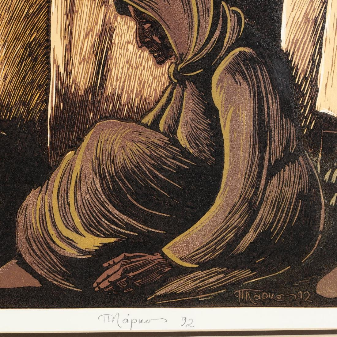 Woodcut of Cypriot Women Sheltering During the Turkish - 2