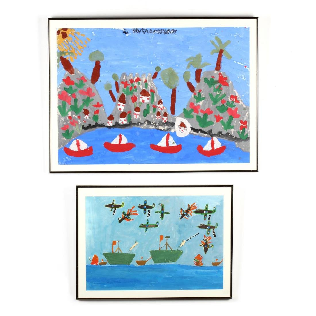 Two Cypriot Paintings by Greek Refugee Children