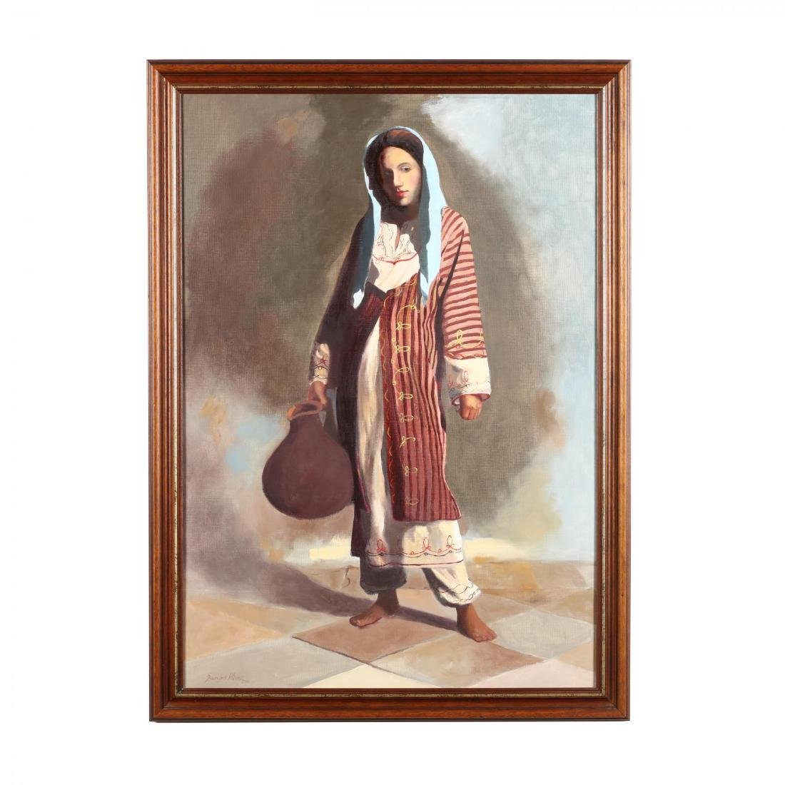 """Greek or Cypriot Painting, """"Peasant Girl With Ewer"""""""