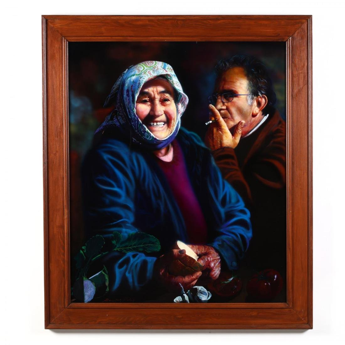 Greek or Cypriot Photo-Realist Painting of an Aging