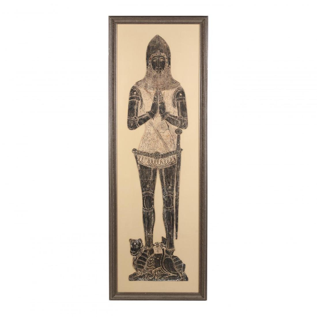 Monumental Brass Rubbing of an Armored Knight