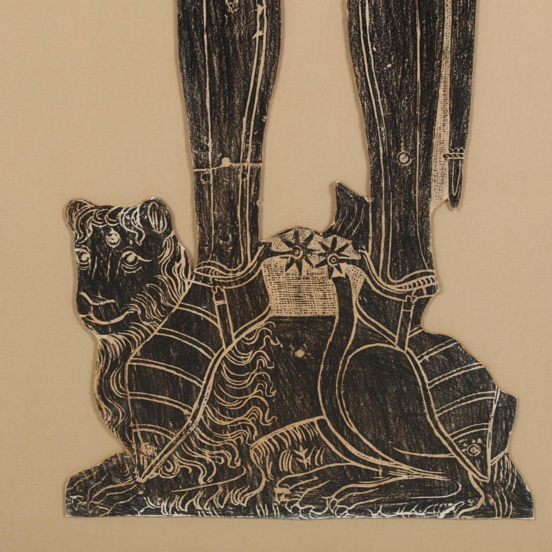 Monumental Brass Rubbing of an Armored Knight - 2
