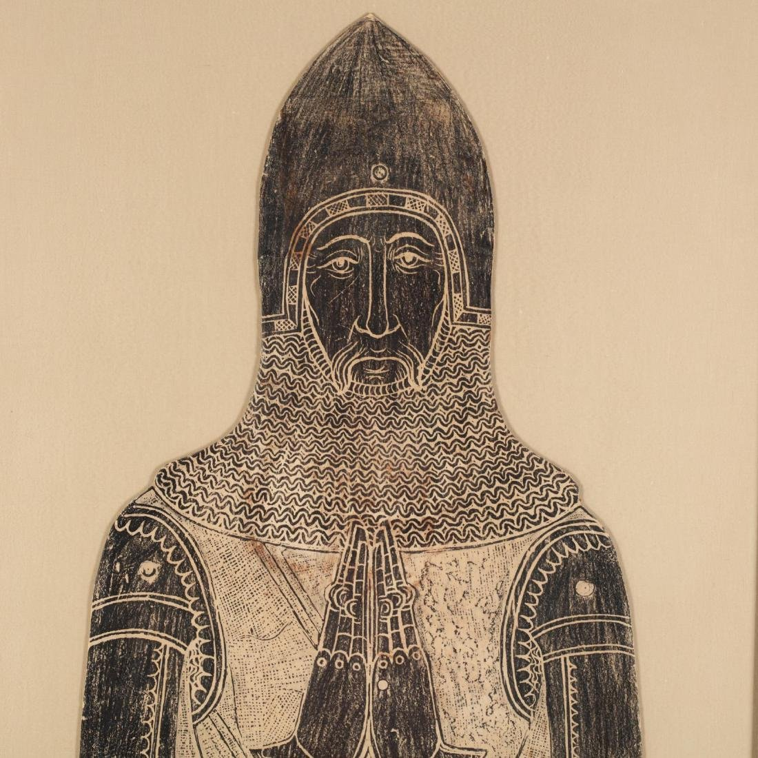 Monumental Brass Rubbing of an Armored Knight - 3