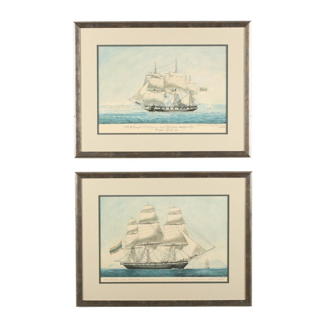 Pair of Prints Depicting Sailing Ships on the