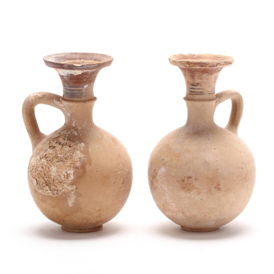 Pair of Cypro-Geometric Creme Ware Pottery Flasks