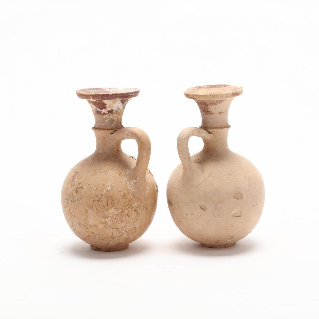 Pair of Cypro-Geometric Creme Ware Pottery Flasks - 3
