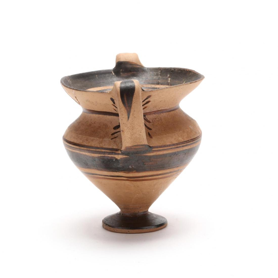 Greek Two-Handled Terracotta Wine Cup From Cyprus - 4