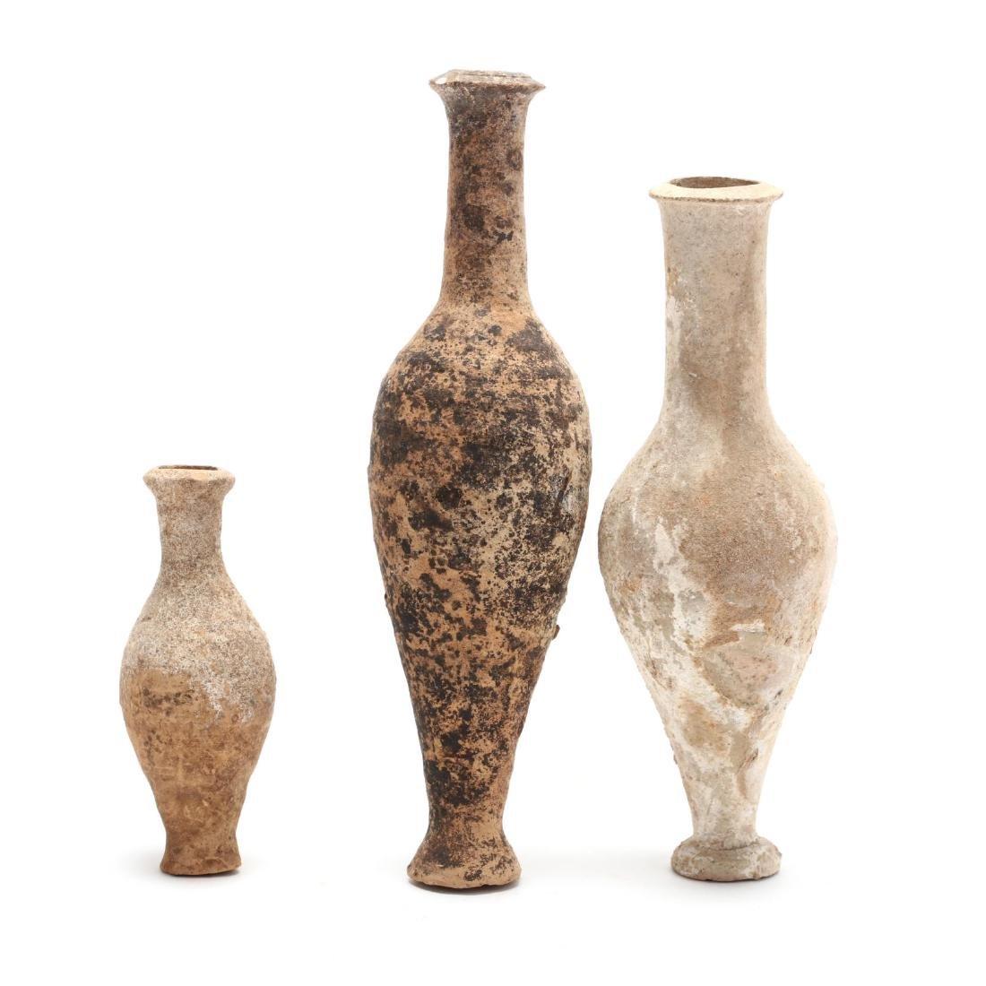 Three Cypriot Hellenistic Spindle Bottles, Ex. Morris