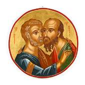 Contemporary Greek Icon of Apostles Peter and Paul