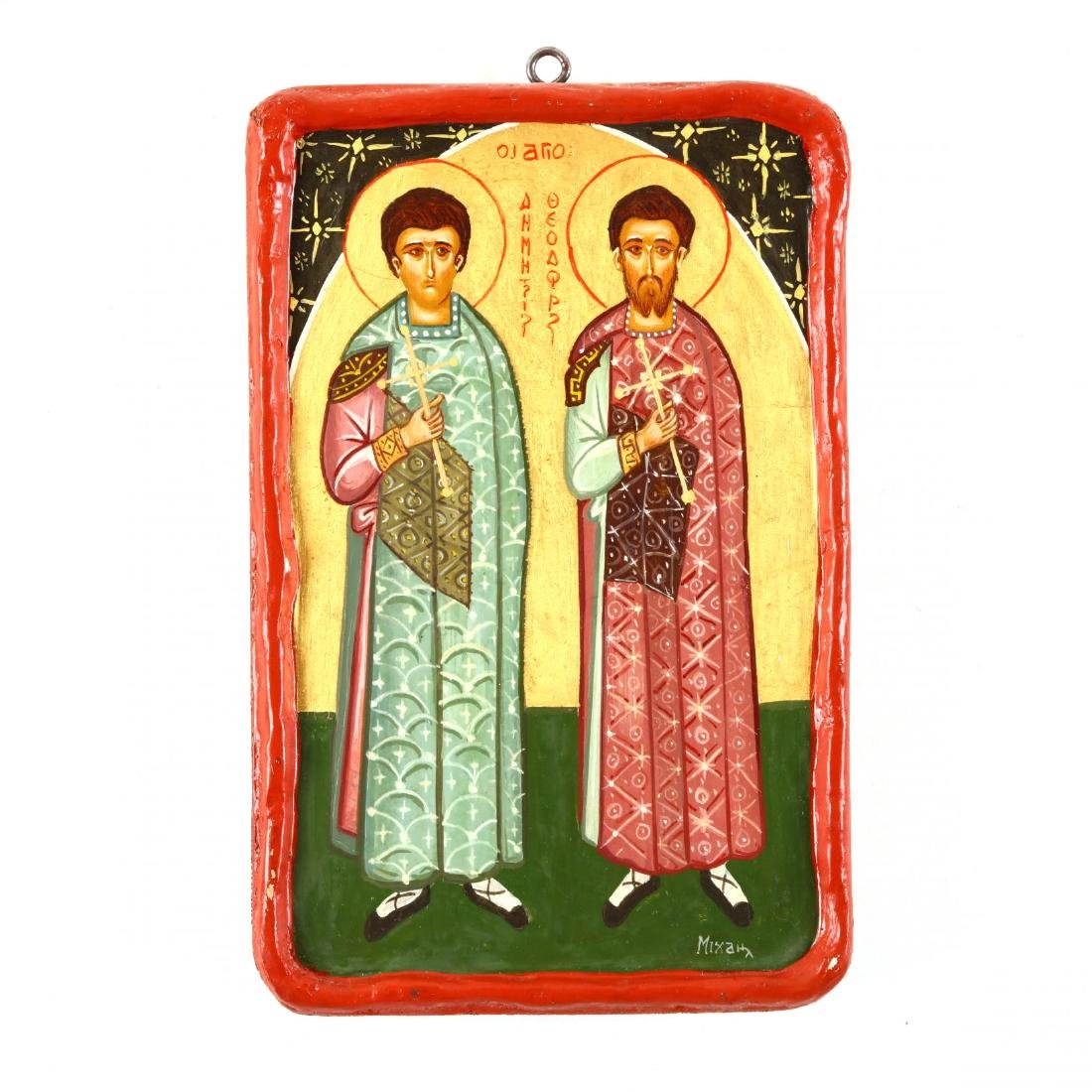 Contemporary Greek Icon of Saints Demetrios and