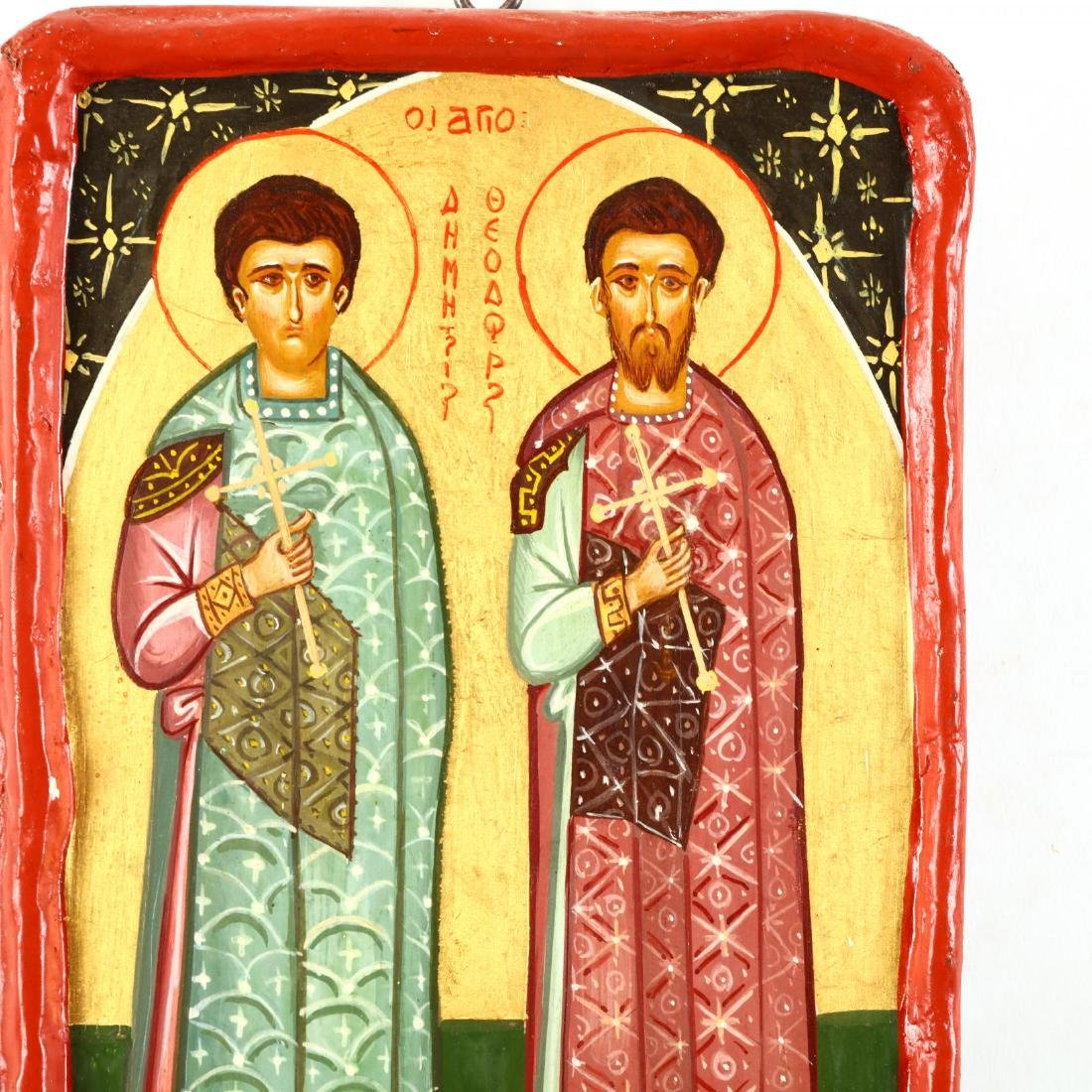 Contemporary Greek Icon of Saints Demetrios and - 2