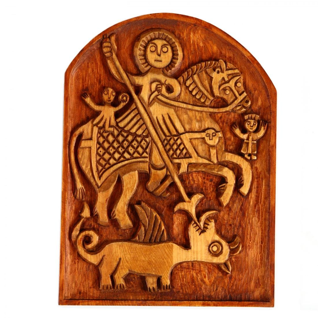 Three Carved Wooden Panels - 3