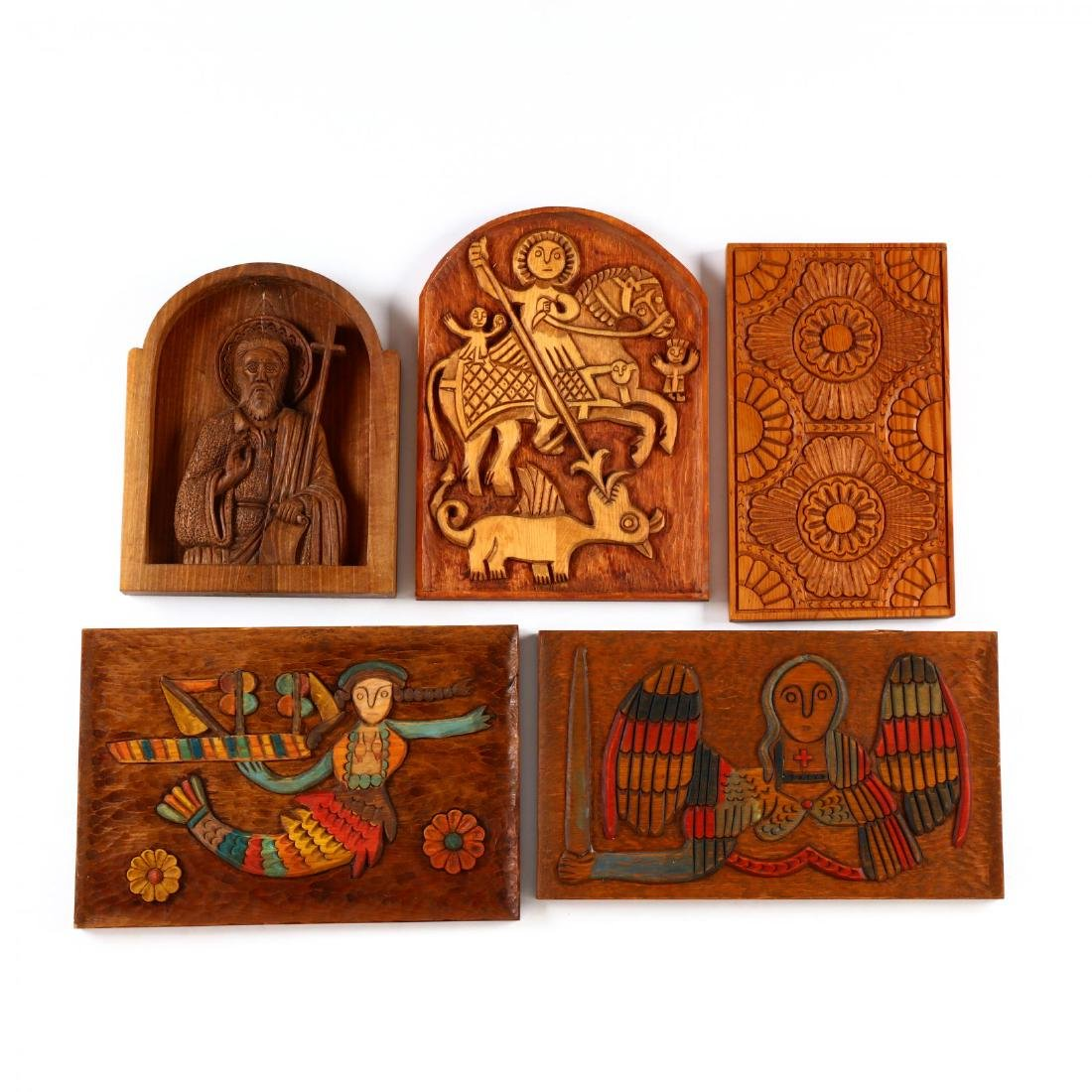 Five Carved Wooden Plaques