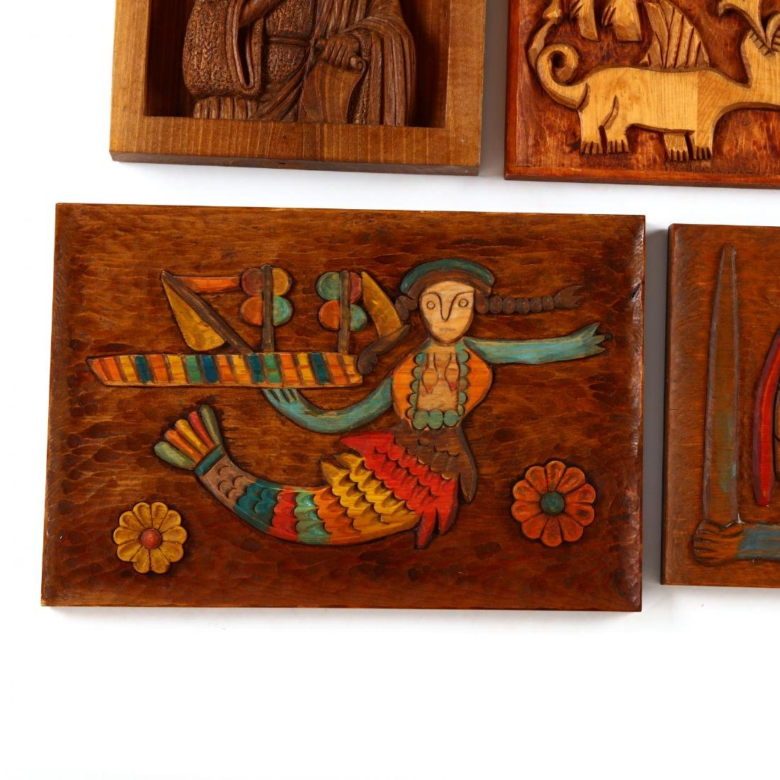 Five Carved Wooden Plaques - 2