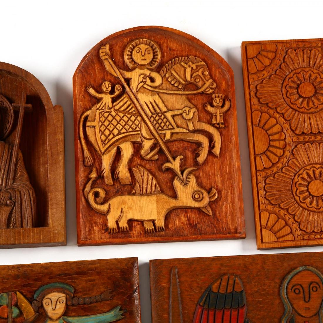 Five Carved Wooden Plaques - 3