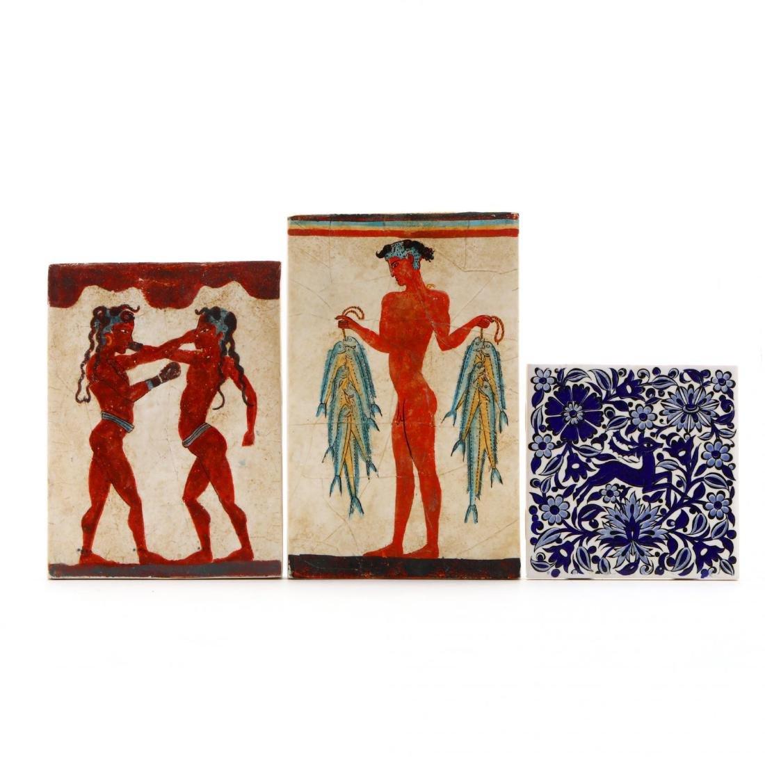 Three Hand-Painted Greek Tiles