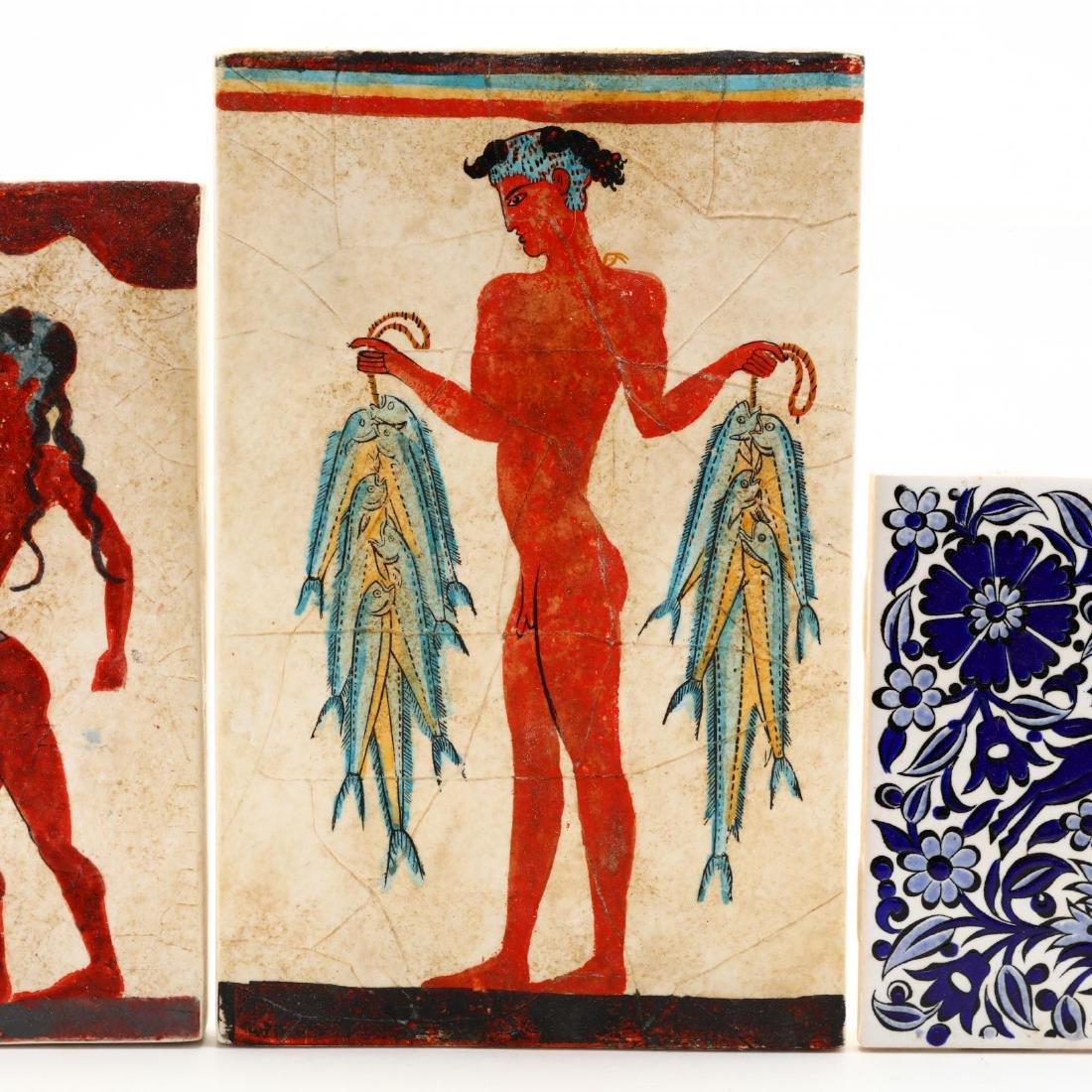 Three Hand-Painted Greek Tiles - 2