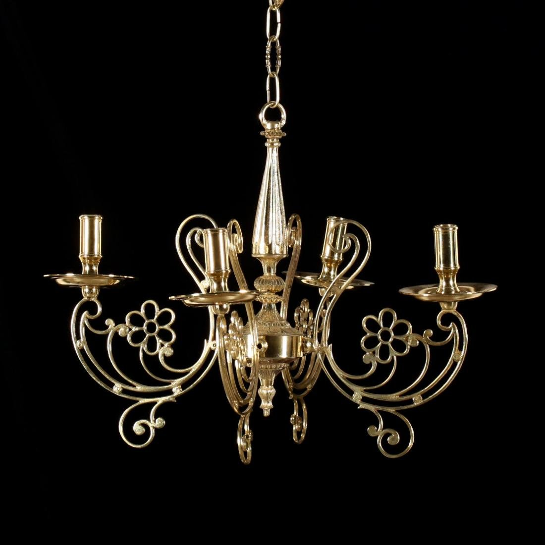 Contemporary Four-Arm Brass Chandelier