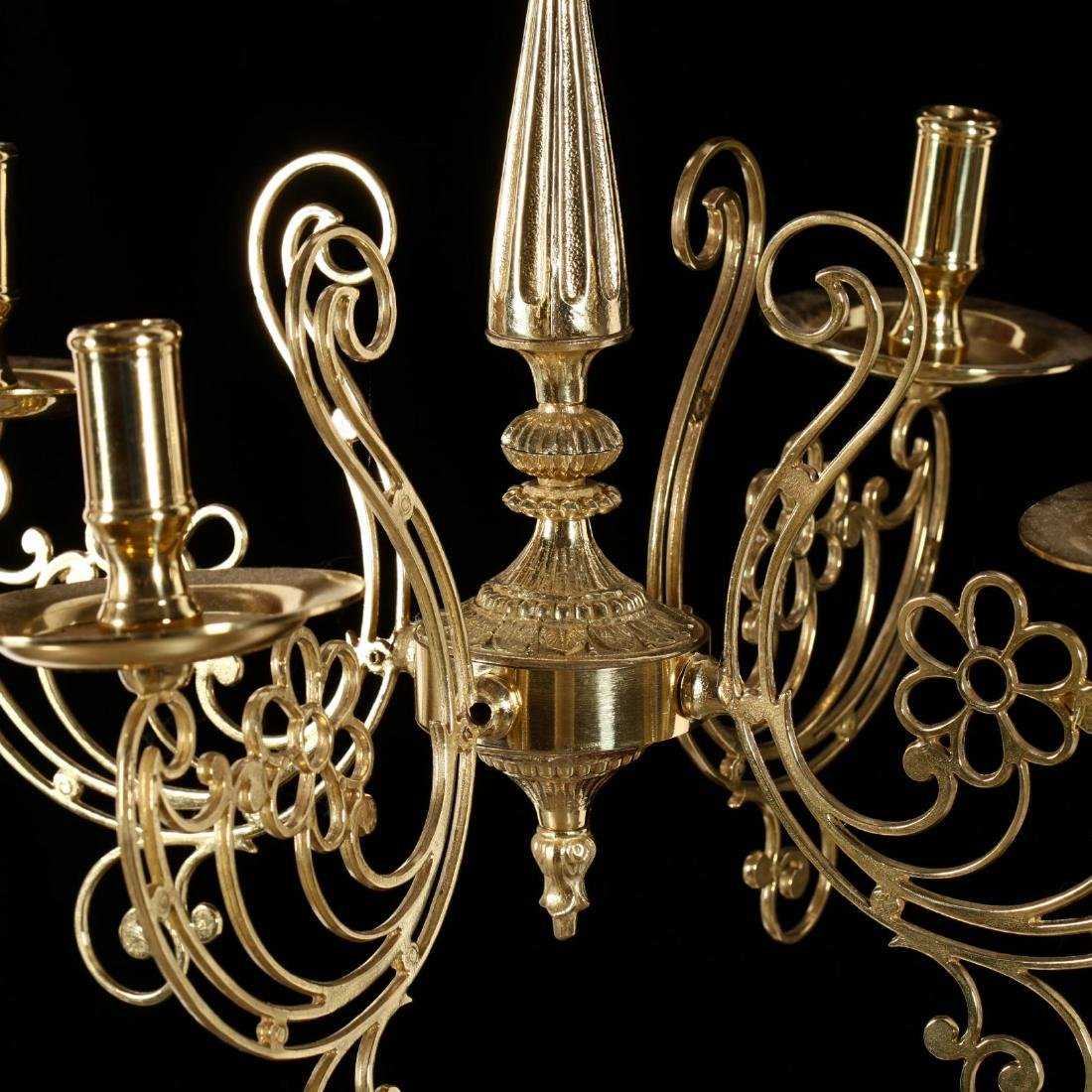 Contemporary Four-Arm Brass Chandelier - 2