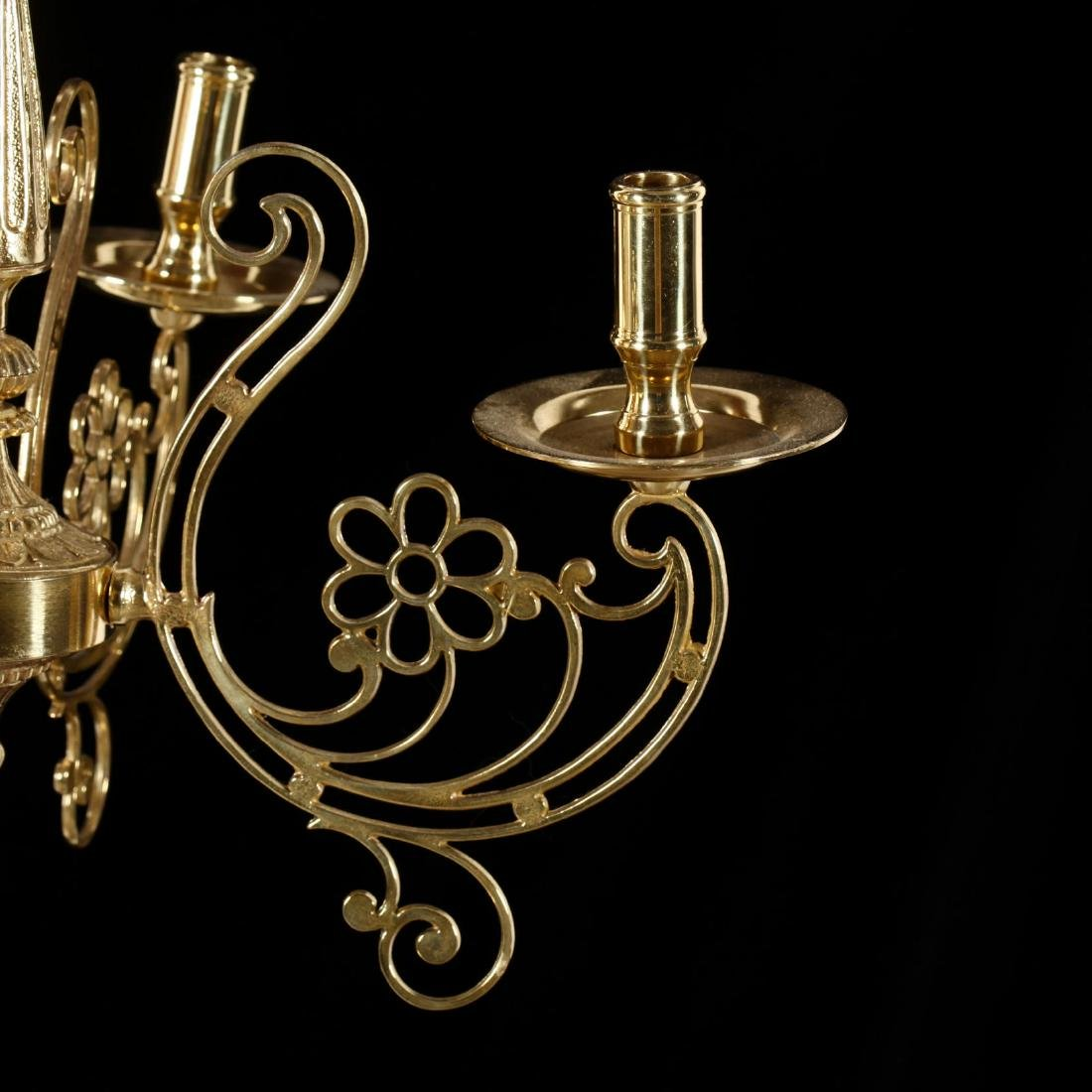 Contemporary Four-Arm Brass Chandelier - 3