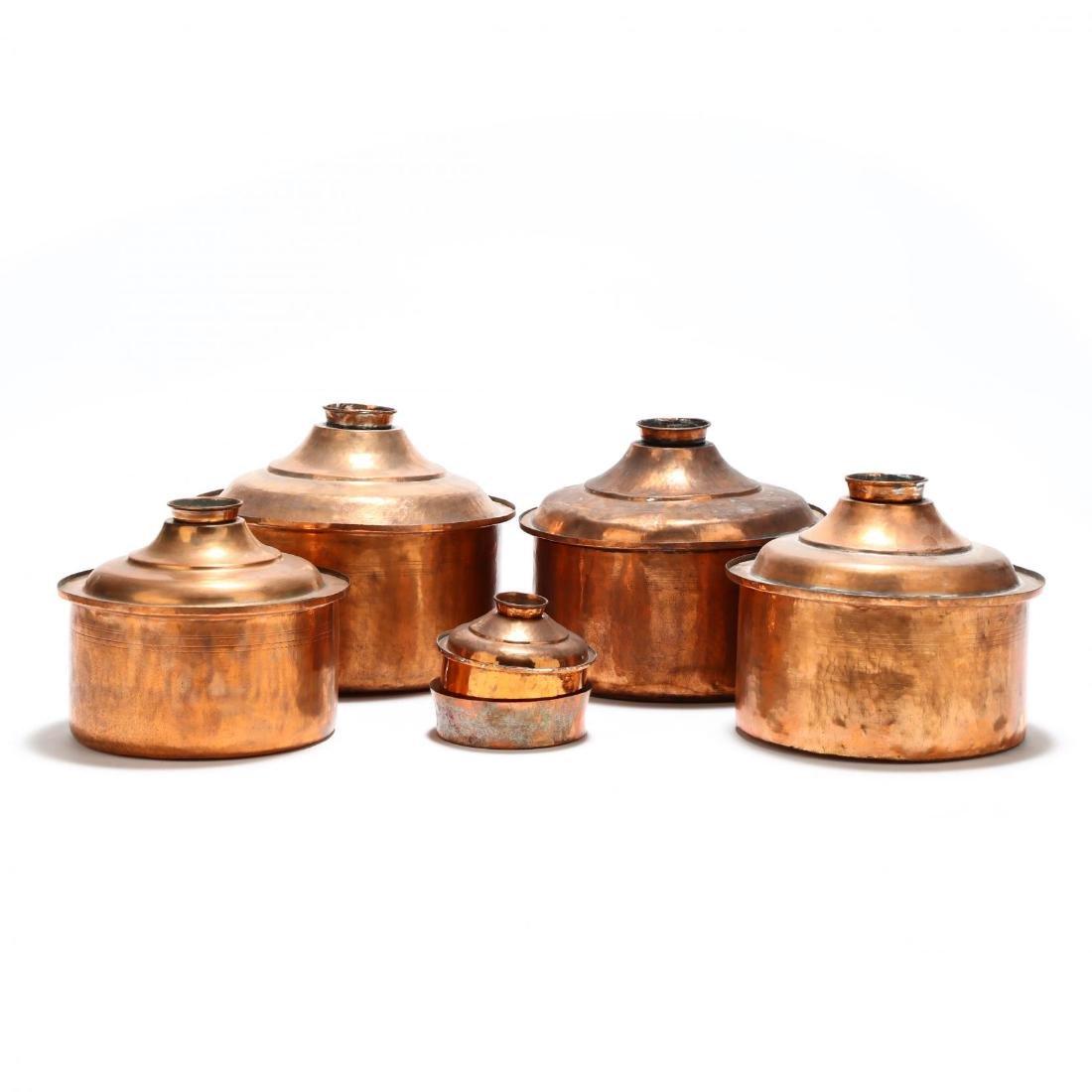 Five Graduated Copper Stock Pots