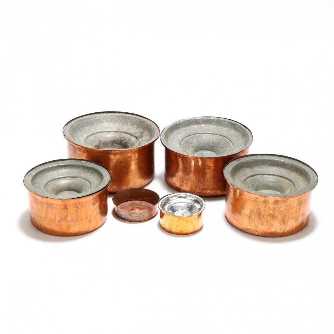 Five Graduated Copper Stock Pots - 3
