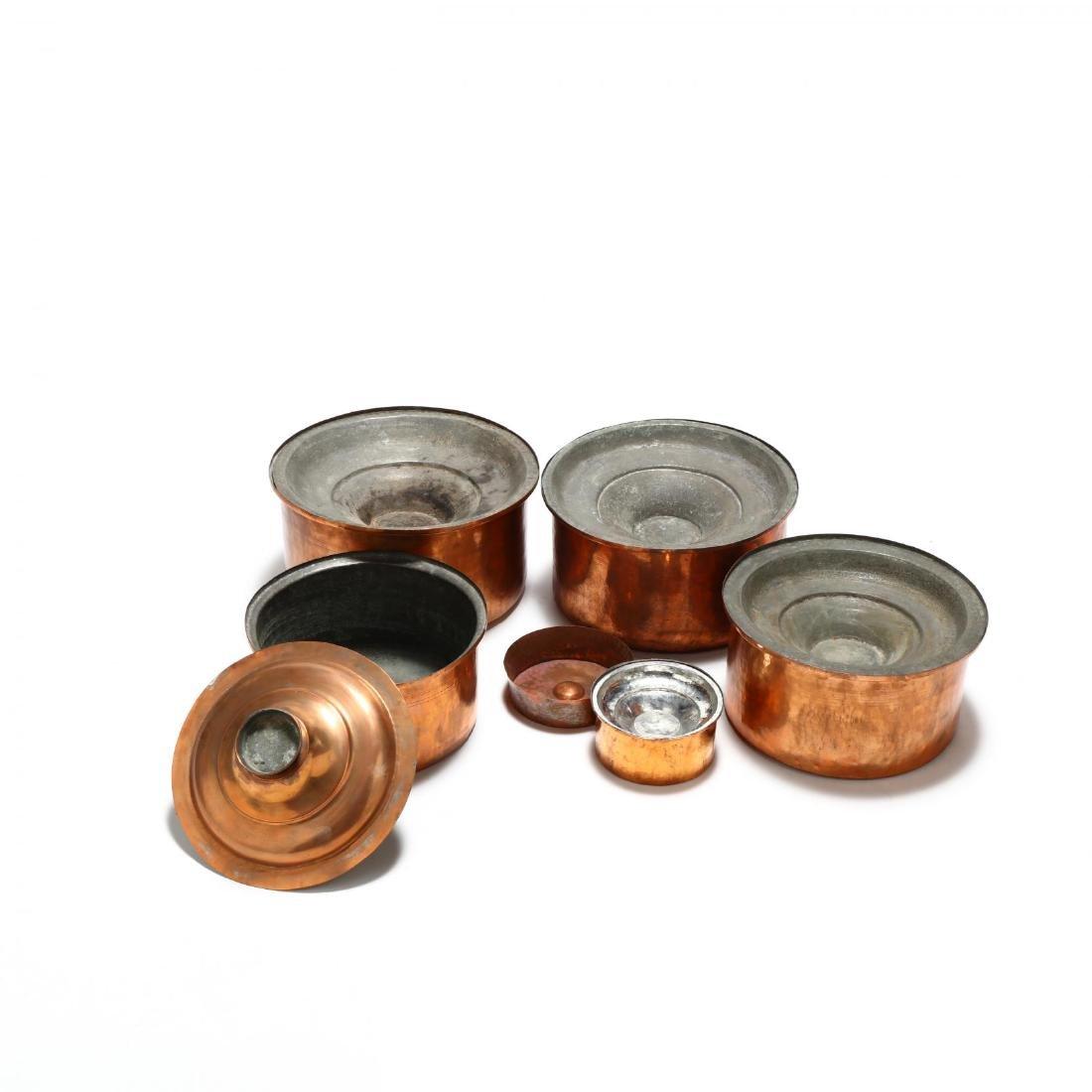 Five Graduated Copper Stock Pots - 4