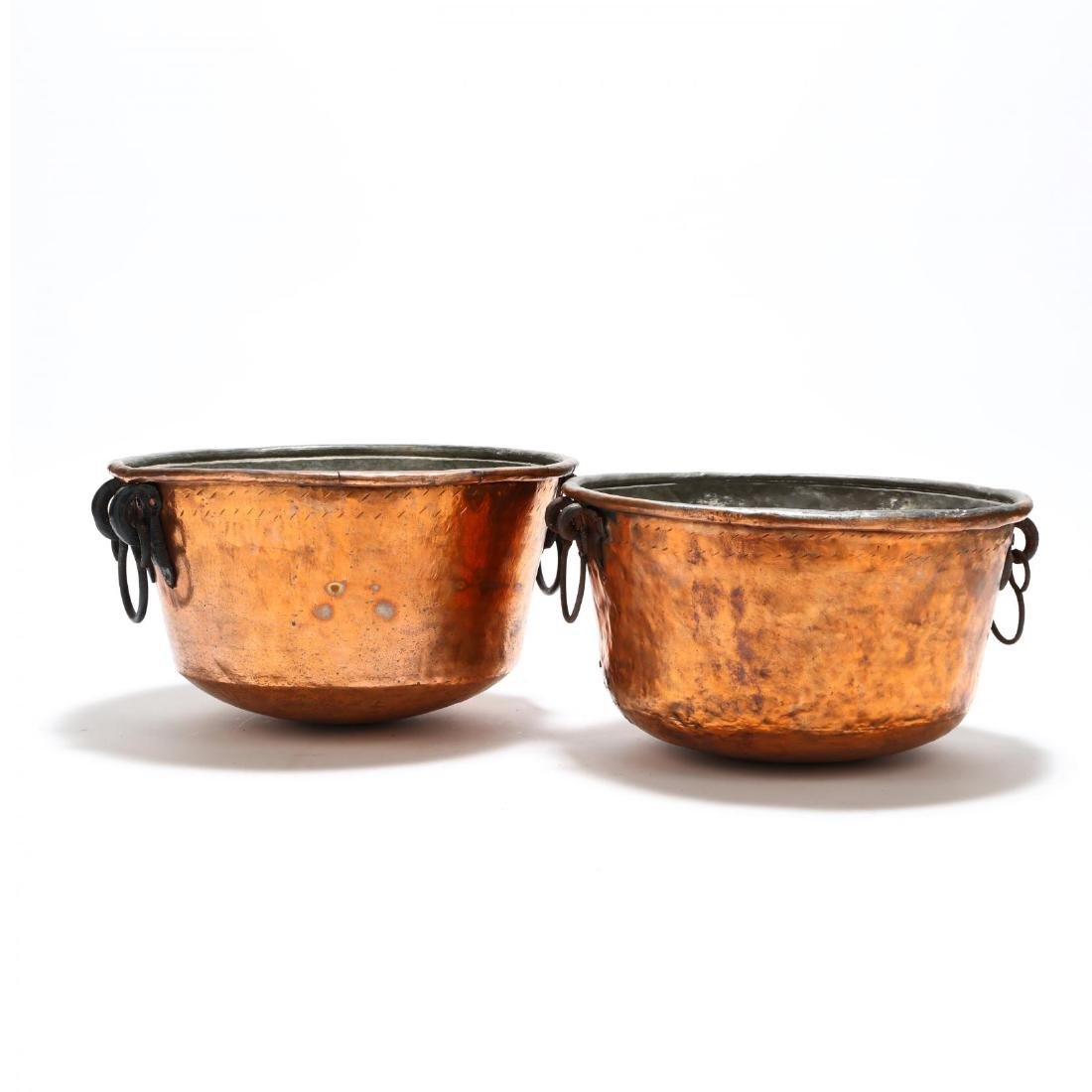 Two Large Hand-Hammered Copper Cauldrons