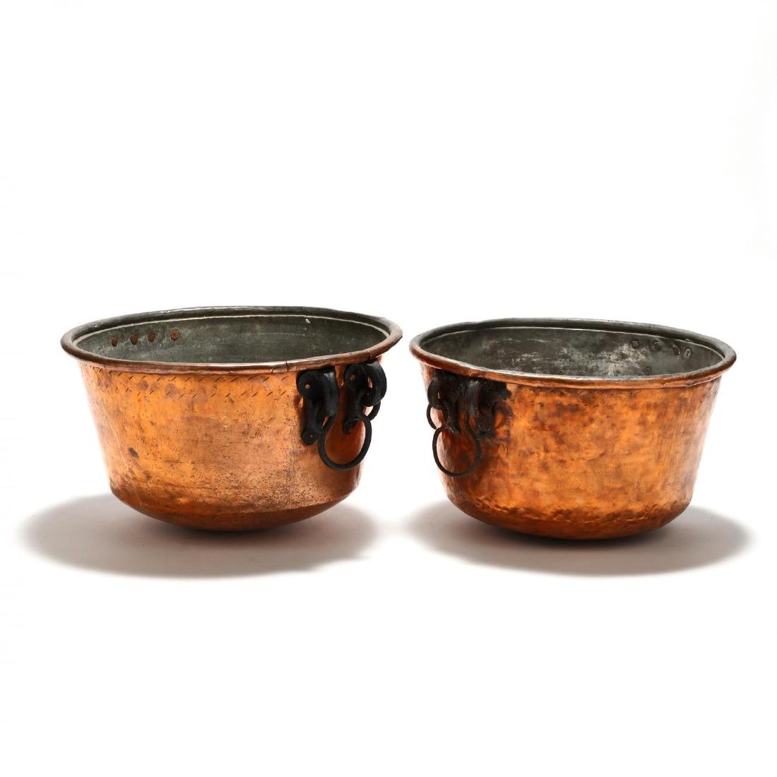Two Large Hand-Hammered Copper Cauldrons - 3