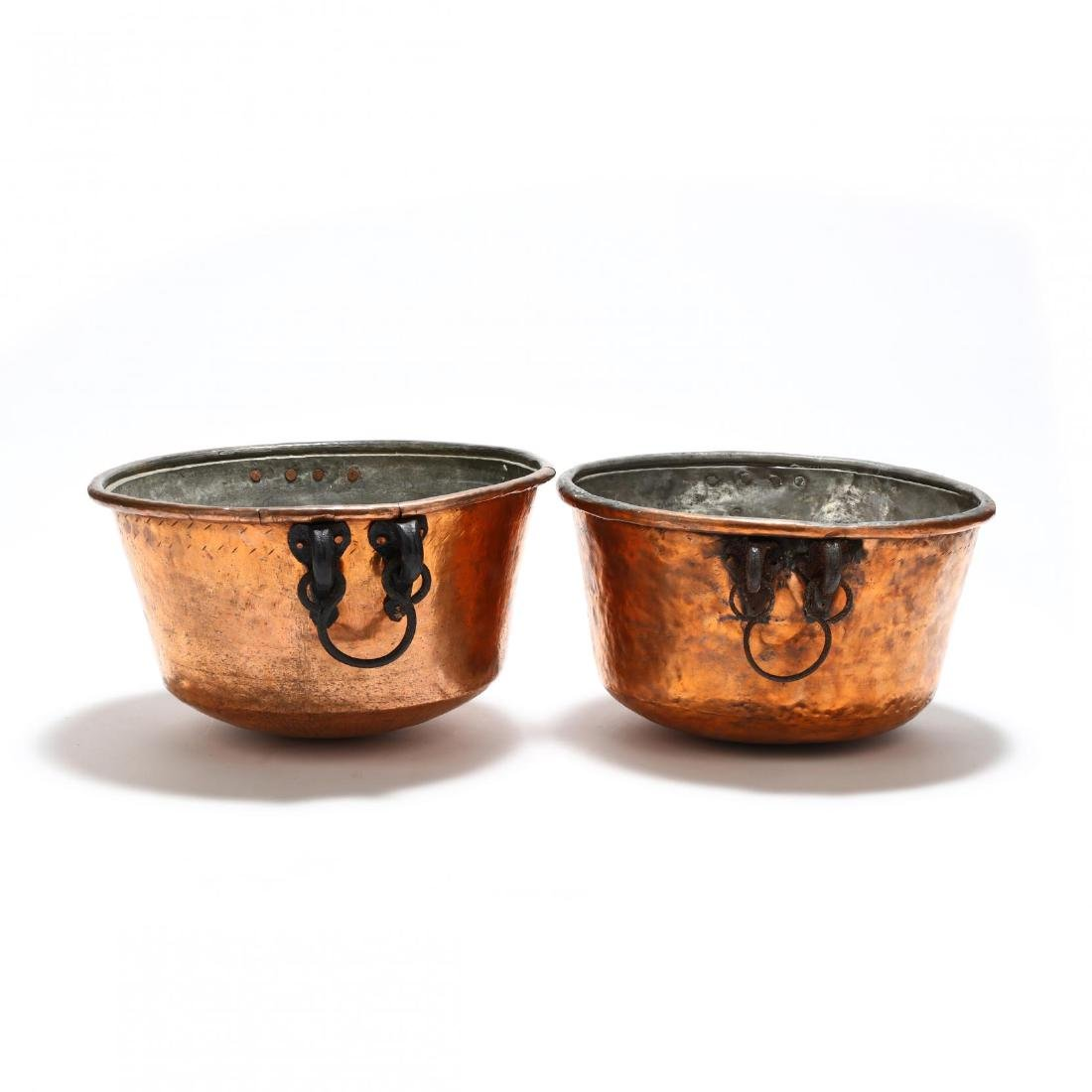 Two Large Hand-Hammered Copper Cauldrons - 4