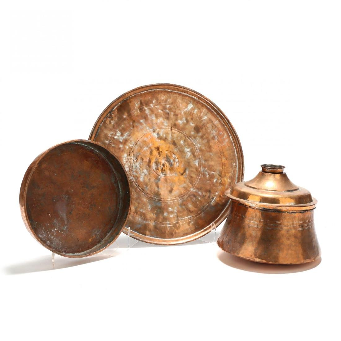 Three Pieces of Large Copper Kitchenware