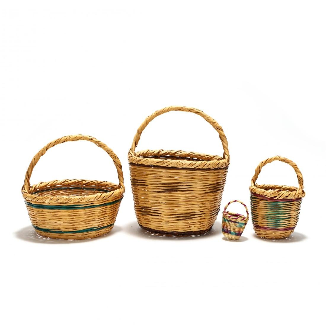 Assembled Set of Four Graduated Reed Baskets