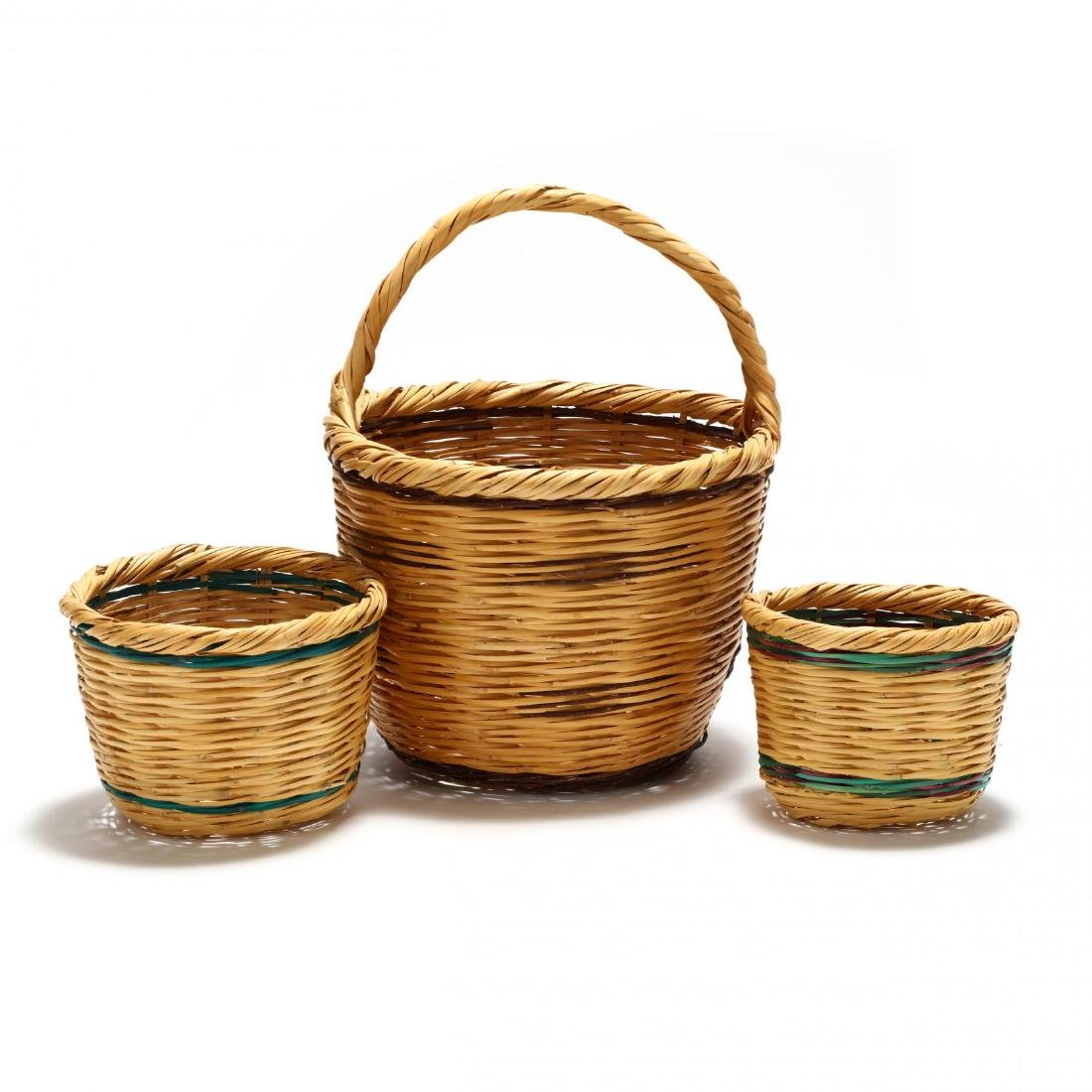Assembled Set of Three Graduated Reed Baskets