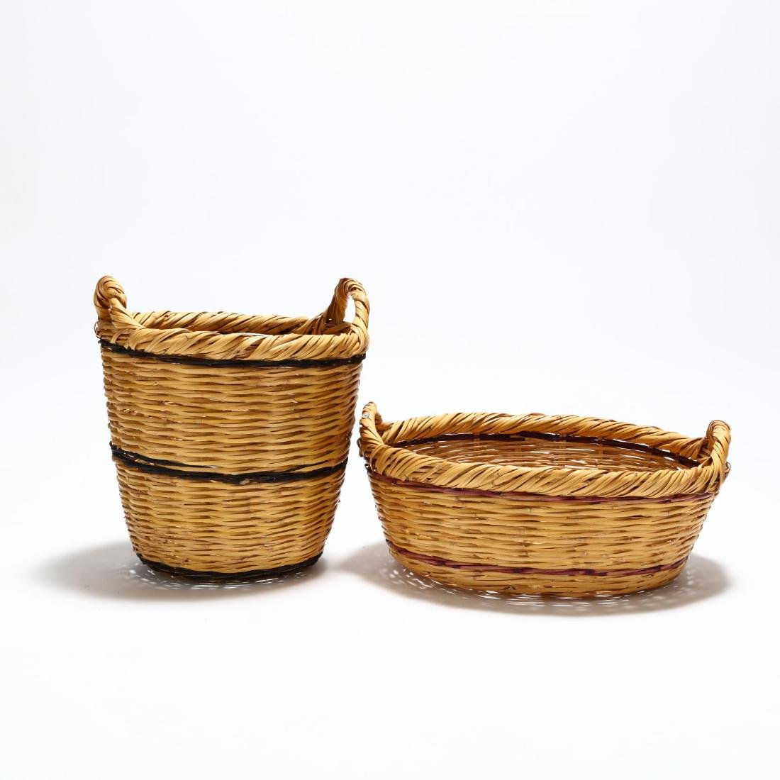 Two Large Woven Reed Baskets