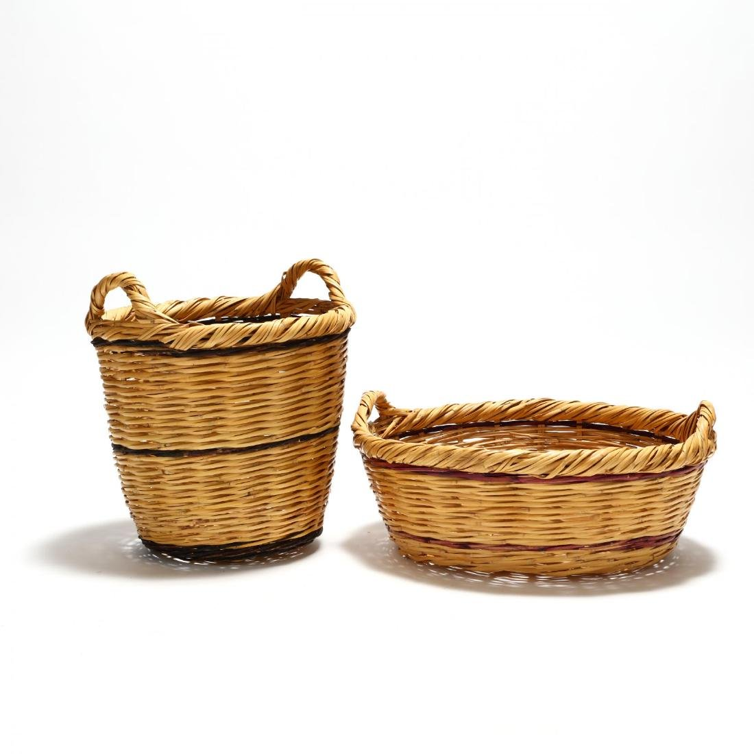 Two Large Woven Reed Baskets - 3