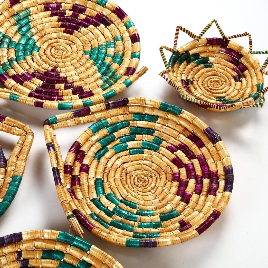 Set of Decorative Woven Straw Table Mats - 4