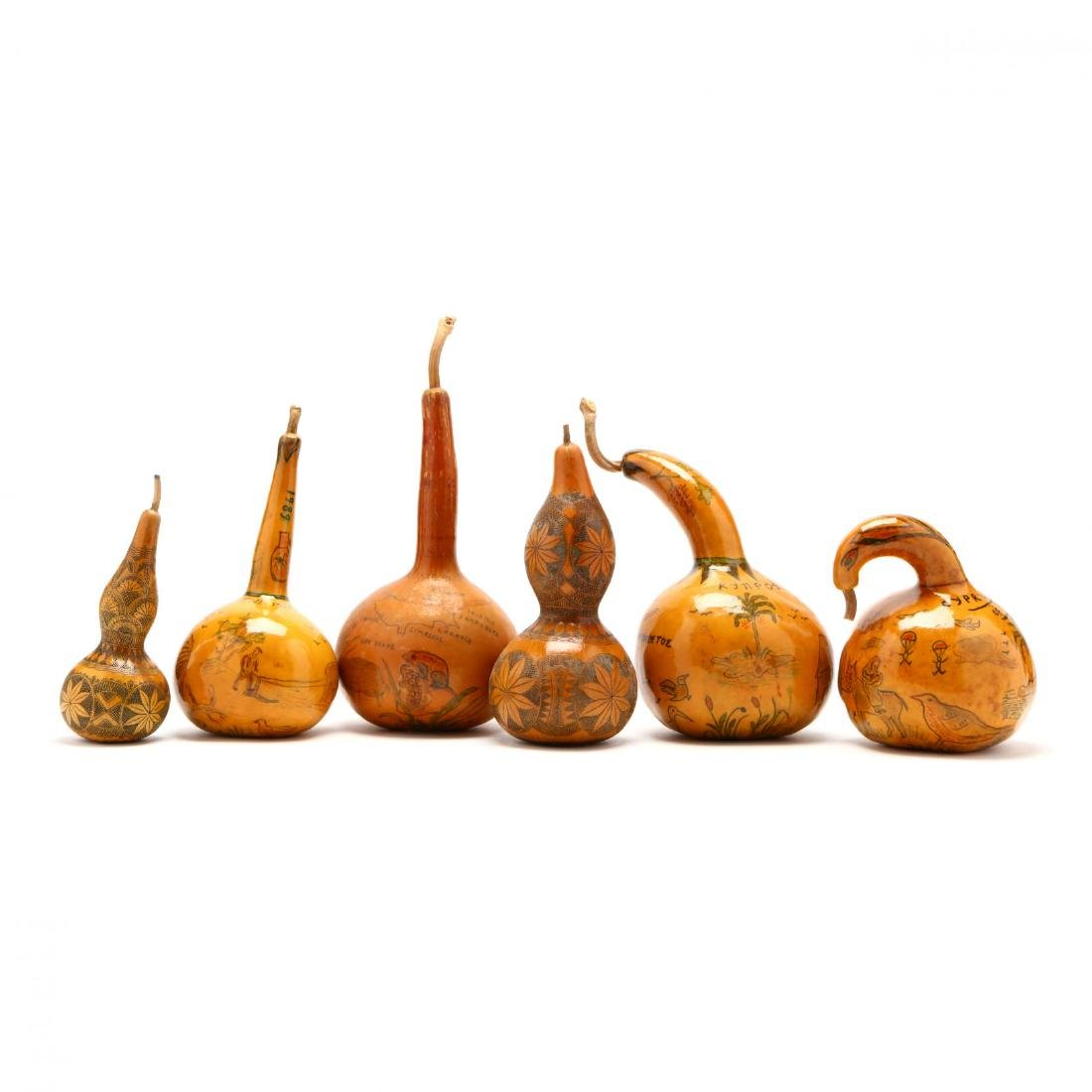 Group of Six Hand-Painted Gourds, Two Commemorate
