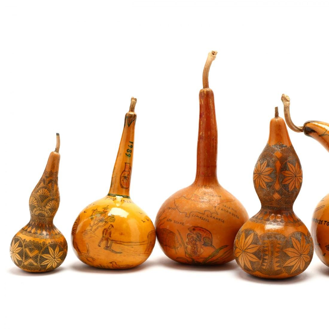 Group of Six Hand-Painted Gourds, Two Commemorate - 2