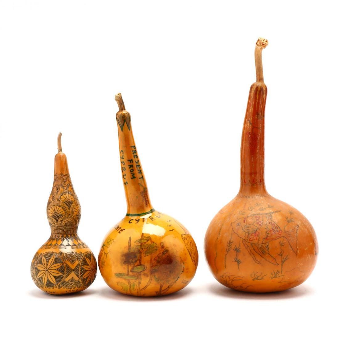 Group of Six Hand-Painted Gourds, Two Commemorate - 3
