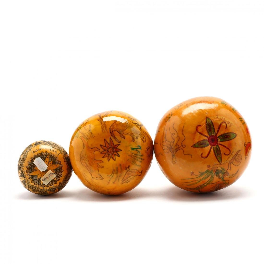 Group of Six Hand-Painted Gourds, Two Commemorate - 4