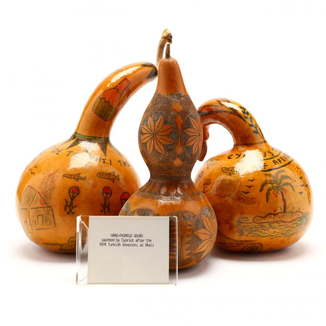 Group of Six Hand-Painted Gourds, Two Commemorate - 6