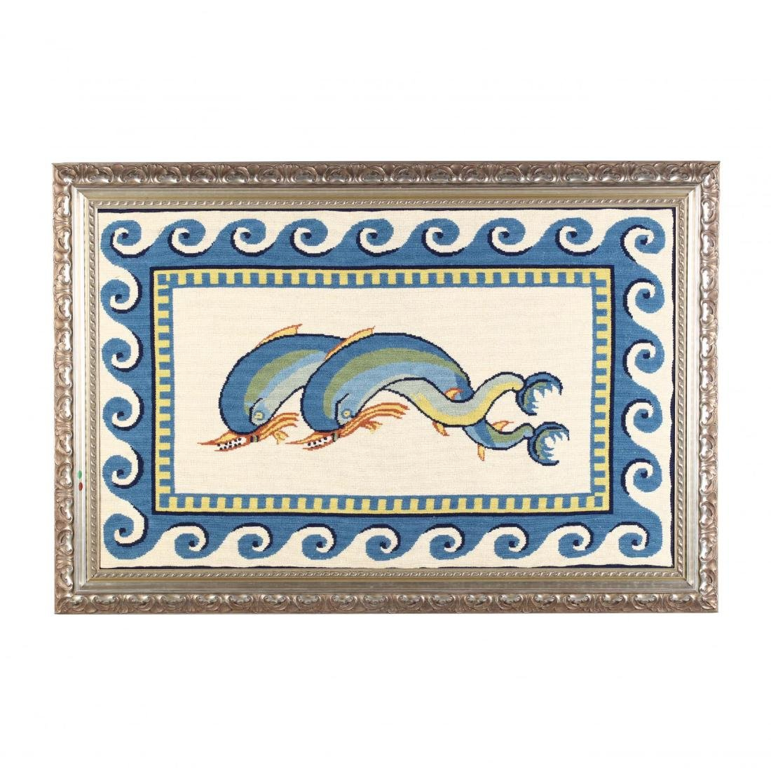 Needlepoint Depiction of Dolphins After a Roman Mosaic