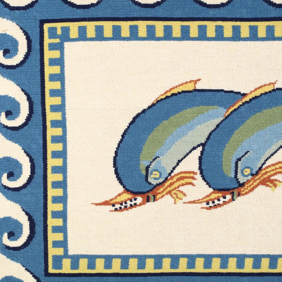 Needlepoint Depiction of Dolphins After a Roman Mosaic - 2