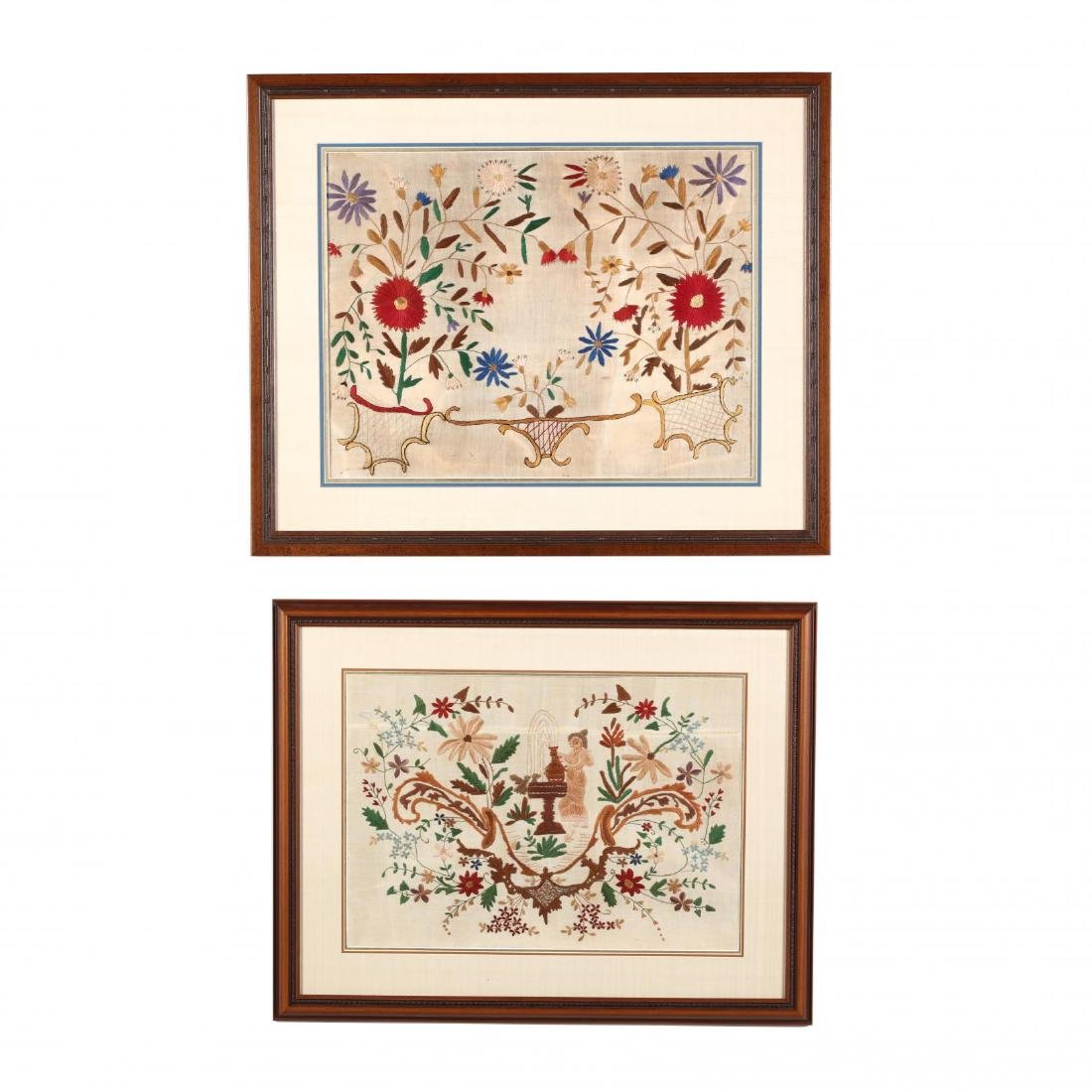 Two Vintage Cypriot Needlepoint Compositions