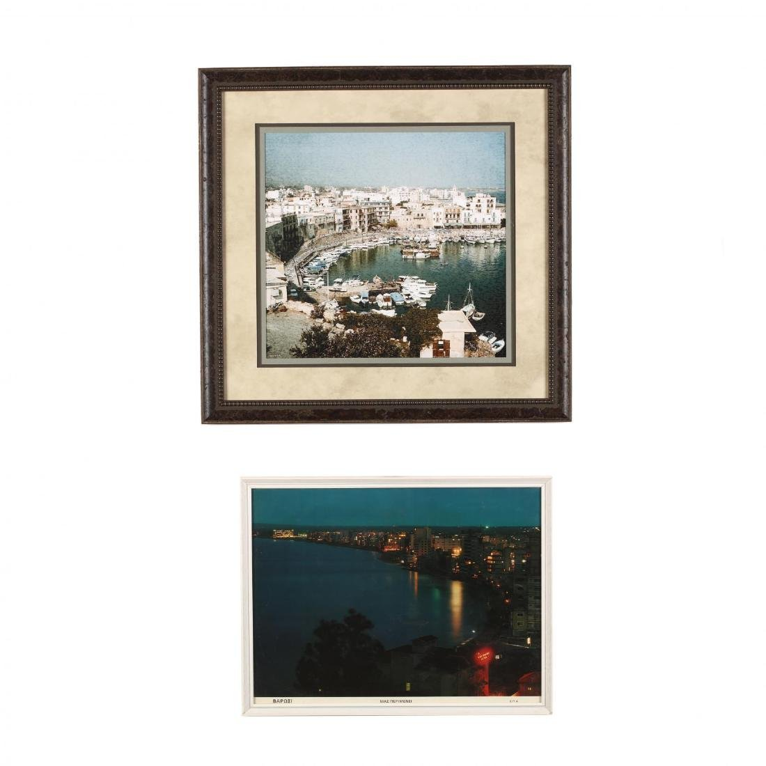 Two Framed Vintage Photographs of Cypriot Harbors