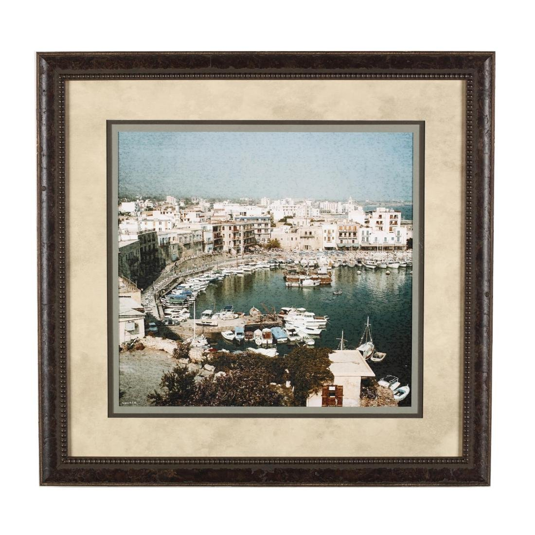 Two Framed Vintage Photographs of Cypriot Harbors - 2