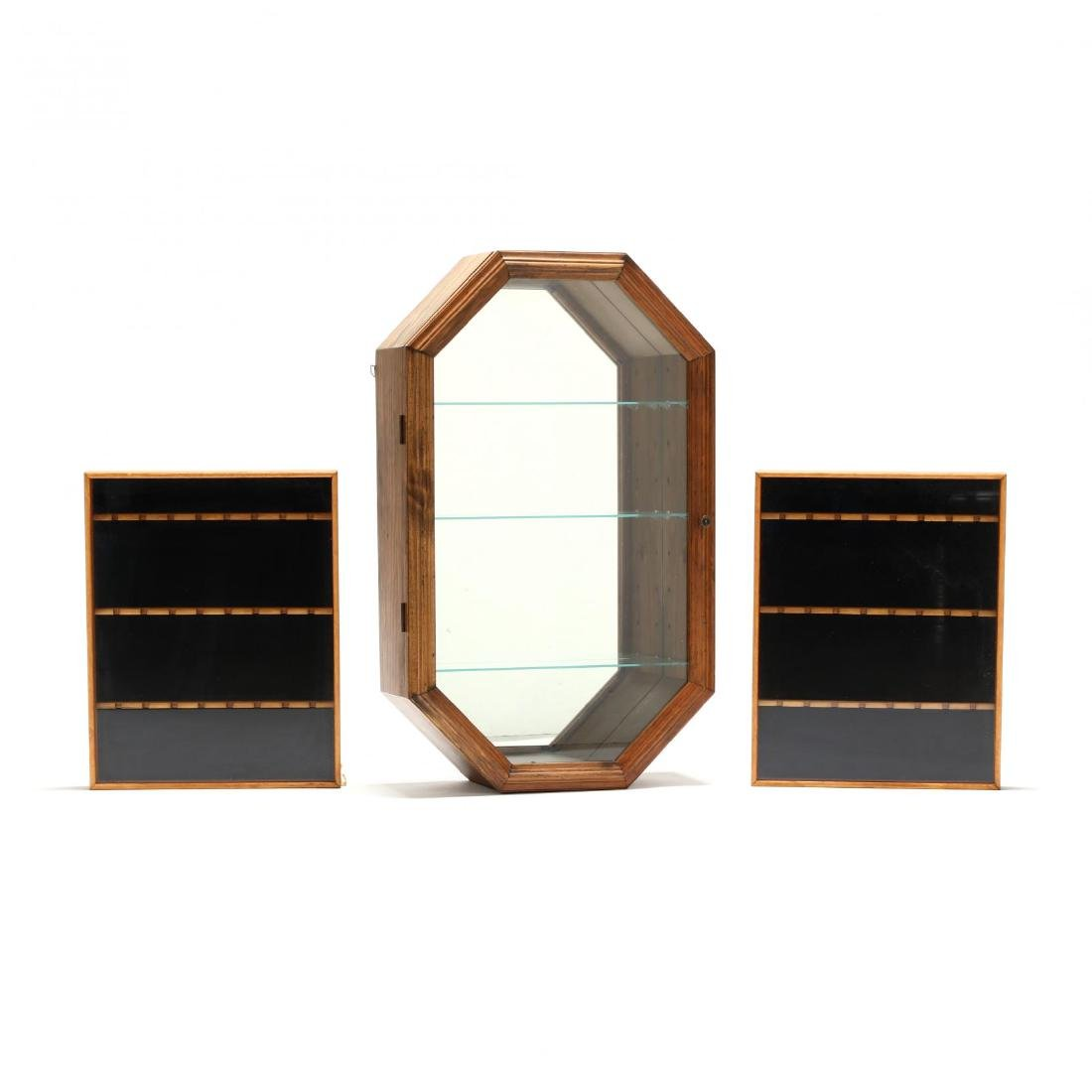 Three Glass-Front Wooden Display Cases