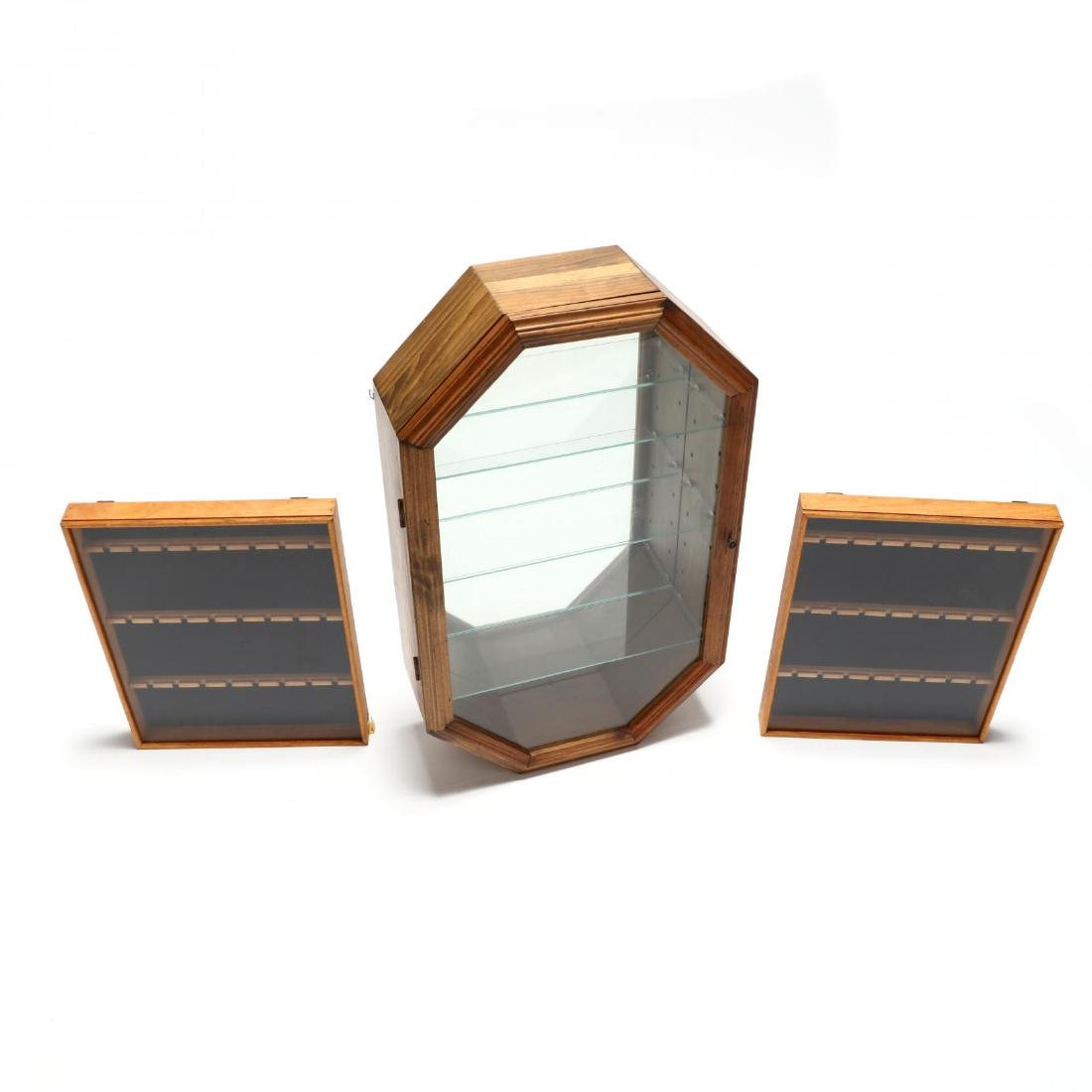 Three Glass-Front Wooden Display Cases - 2