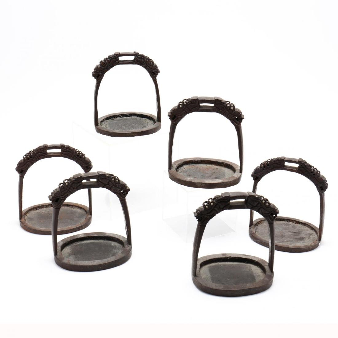 Six Antique Chinese Inlaid Iron Stirrups